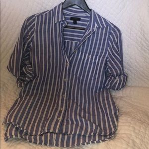 J Crew linen stripe shirt. Size 2